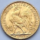 20 франков. 1907. Петух. Франция (золото 900, вес 6,46 г), фото №6
