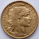 20 франков. 1907. Петух. Франция (золото 900, вес 6,46 г), фото №2
