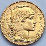 20 франков. 1908. Петух. Франция (золото 900, вес 6,43 г), фото №5