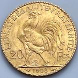 20 франков. 1908. Петух. Франция (золото 900, вес 6,43 г), фото №6