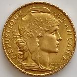 20 франков. 1908. Петух. Франция (золото 900, вес 6,43 г), фото №2