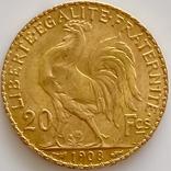 20 франков. 1908. Петух. Франция (золото 900, вес 6,43 г), фото №7