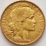 20 франков. 1909. Петух. Франция (золото 900, вес 6,45 г), фото №2