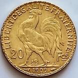 20 франков. 1909. Петух. Франция (золото 900, вес 6,45 г), фото №3