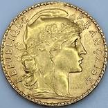 20 франков. 1909. Петух. Франция (золото 900, вес 6,45 г), фото №4