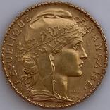 20 франков. 1909. Петух. Франция (золото 900, вес 6,45 г), фото №6