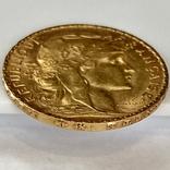 20 франков. 1909. Петух. Франция (золото 900, вес 6,45 г), фото №8