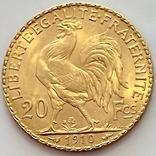 20 франков. 1910. Петух. Франция (золото 900, вес 6,47 г), фото №4