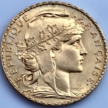 20 франков. 1910. Петух. Франция (золото 900, вес 6,47 г), фото №5