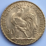 20 франков. 1910. Петух. Франция (золото 900, вес 6,47 г), фото №6