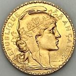 20 франков. 1910. Петух. Франция (золото 900, вес 6,47 г), фото №2
