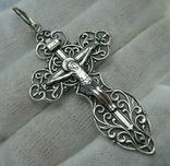 Серебряный Крест Большой Растительный Узор Геральдическая Лилия 925 проба Серебро 477
