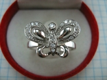 Новое Серебряное Кольцо Бабочка Камни Фианиты Размер 19.25 Серебро 925 проба 872, фото №3