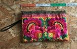 Сумочка клатч этническая, разноцветная цветочная вышивка, HMONG, Таиланд, фото №4