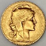 20 франков. 1911. Петух. Франция (золото 900, вес 6,47 г), фото №3