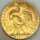 20 франков. 1911. Петух. Франция (золото 900, вес 6,47 г), фото №4