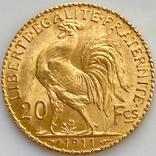 20 франков. 1911. Петух. Франция (золото 900, вес 6,47 г), фото №6