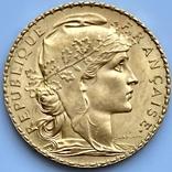 20 франков. 1911. Петух. Франция (золото 900, вес 6,47 г), фото №7