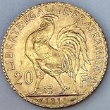 20 франков. 1911. Петух. Франция (золото 900, вес 6,47 г), фото №8