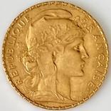 20 франков. 1912. Петух. Франция (золото 900, вес 6,47 г), фото №13
