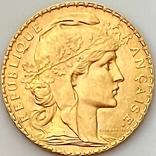 """20 франков. 1913. """"Петух"""". Франция (золото 900, вес 6,46 г), фото №2"""