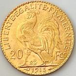 """20 франков. 1913. """"Петух"""". Франция (золото 900, вес 6,46 г), фото №3"""