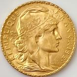 """20 франков. 1913. """"Петух"""". Франция (золото 900, вес 6,46 г), фото №4"""