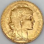 20 франков. 1914. Петух. Франция (золото 900, вес 6,46 г), фото №3