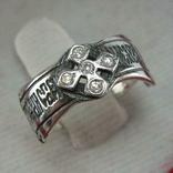 Новое Серебряное Кольцо Размер 15.0 Мальтийский Крест Молитва Камни 925 проба Серебро 742