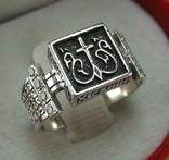 Серебряное Кольцо Перстень Размер 18.0 Проросший Крест Молитва Камни 925 проба Серебро 961