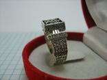 Серебряное Кольцо Перстень Размер 18.0 Проросший Крест Молитва Камни 925 проба Серебро 961, фото №4