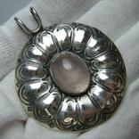 Серебряный Кулон Подвеска Натуральный Розовый Кварц Крупный Большой Серебро 925 проба 269, фото №2