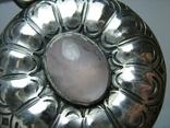 Серебряный Кулон Подвеска Натуральный Розовый Кварц Крупный Большой Серебро 925 проба 269, фото №6
