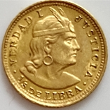 1/5 либры. 1906. Перу (золото 917, вес 1,61 г), фото №13