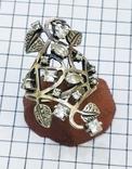 Перстень Серебро 7 грамм, горный хрусталь. СССР., фото №3