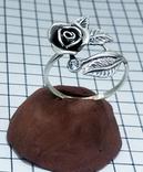 Кольцо серебряная роза с фианитом, 925 советских времен., фото №3