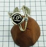 Кольцо серебряная роза с фианитом, 925 советских времен., фото №5