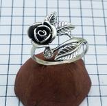 Кольцо серебряная роза с фианитом, 925 советских времен., фото №7