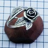 Кольцо серебряная роза с фианитом, 925 советских времен., фото №8