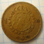 Швеция 1 крона, 1946, фото №6