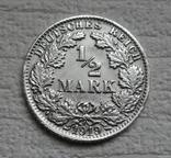 1/2 марки 1919 г. (F) Германия, серебро (№2), фото №2