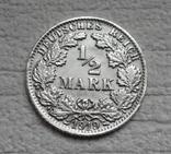 1/2 марки 1919 г. (F) Германия, серебро (№2), фото №4