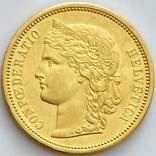20 франков. 1883. Гельветика. Швейцария (золото 900, вес 6,46 г), фото №2