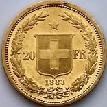 20 франков. 1883. Гельветика. Швейцария (золото 900, вес 6,46 г), фото №7