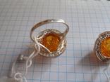 Кольцо и серьги с янтарем 925 проба, фото №8