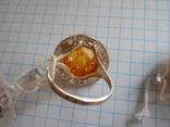 Кольцо и серьги с янтарем 925 проба, фото №11