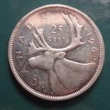 25 центов 1962 Канада серебро (11.4.3)~, фото №2