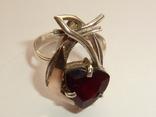 Женский серебряный набор с камнями темно-красного цвета, фото №6