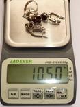 Женский серебряный набор с камнями темно-красного цвета, фото №10