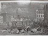 Старинная гравюра Мост Санта-Тринита Дж.Редеуей, фото №2